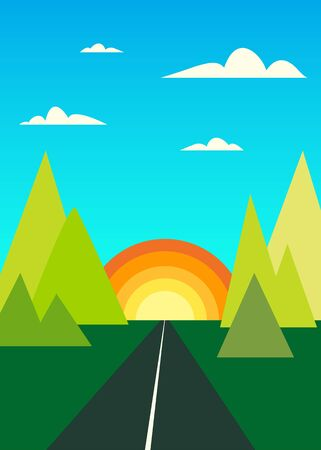 Cartoon flat style landscape with mountains, sun and the road going into the sunset. Vector minimalistic colorful background. Vettoriali