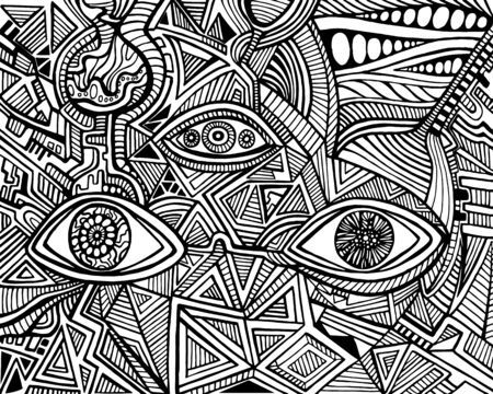 Black and white psychedelic eyes of crazy patterns Coloring page. Fantastic art with ornamental eyes. Surreal doodle card. Trippy cartoon maze ornament background. Vector hand drawn illustration.