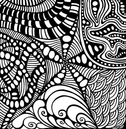 Coloring page doodle style abstract pattern, maze of ornaments. Vettoriali