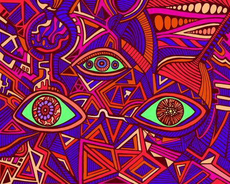 Trippy psychedelic shamanic bright eyes crazy patterns. Fantastic art with decorative eyes. Surreal doodle background. Abstract pattern with maze ornaments. Vector hand drawn illustration. Vettoriali