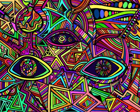 Psychedelic shamanic variegated eyes crazy patterns. Fantastic art with decorative eyes. Surreal doodle pattern. Rainbow colors abstract pattern maze ornaments. Vector hand drawn illustration.