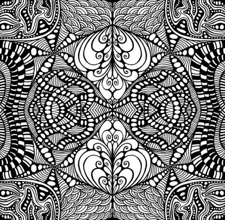 Black and white psychedelic ornament coloring page. Surreal stylish card. Mystical abstract boho mandala. Tribal ethnic shamanic background. Vector trippy wallpaper. Vettoriali
