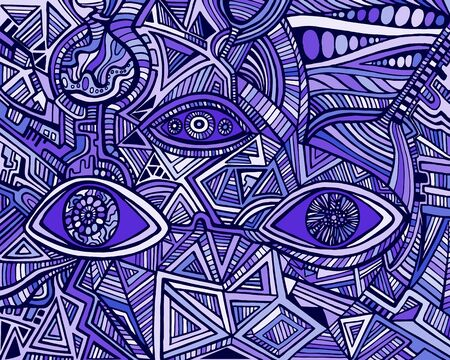 Fantastic bizarre shamanic eyes of crazy patterns. Surreal doodle stylish card. Abstract pattern with maze ornaments. Vector hand drawn illustration. Illustration