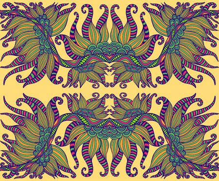 Tribal shamanic psychedelic ethnic colorful floral pattern, isolated on yellow background. Abstract surreal mirror stylish texture. Vector hand drawn illustration.