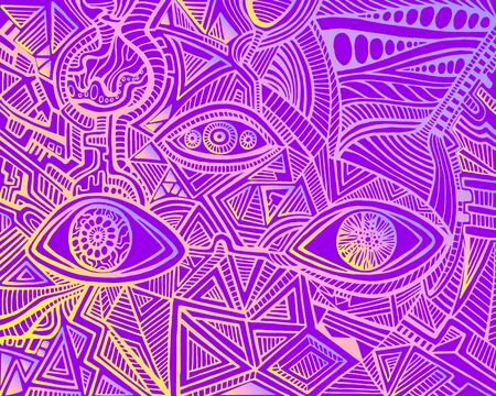 Vintage psychedelic hypnotic shamanic acidic eyes of crazy patterns. Bright neon yellow pink gradient color outline, isolated on violet background. Surreal doodle card. Vector hand drawn illustration.