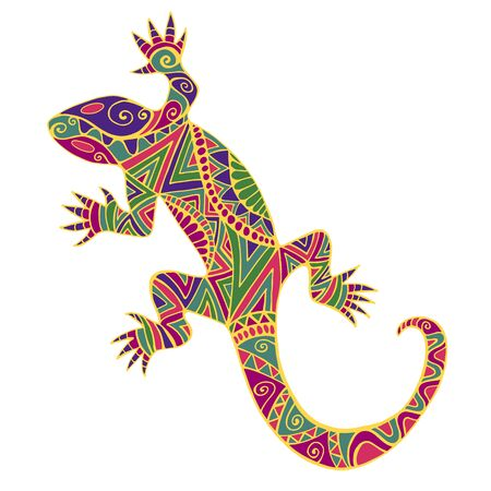 Bright colorful psychedelic lizard with many ornaments, isolated on white background. Vector hand drawn reptile in doodle style. Artistic original ethnic animal pattern.