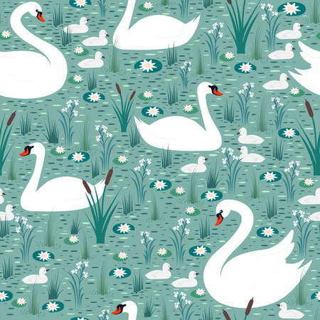 White swans with chicks swim in the pond among lilies and reeds seamless pattern. Vector background with birds in the wild. Illustration