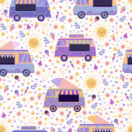 Ice cream trucks summer bright seamless pattern, surrounded by lovely smiling suns, flowers, hearts and ice cream. Colorful cartoon vector texture with toy cars and ice cream on a white background.