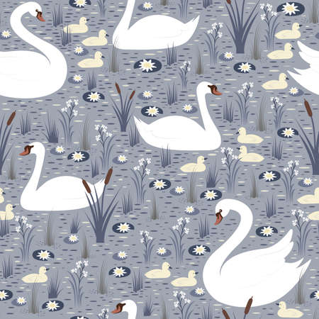 Elegant white swans with chicks swim in the pond among lilies and reeds seamless pattern. Vector background with birds in the wild.