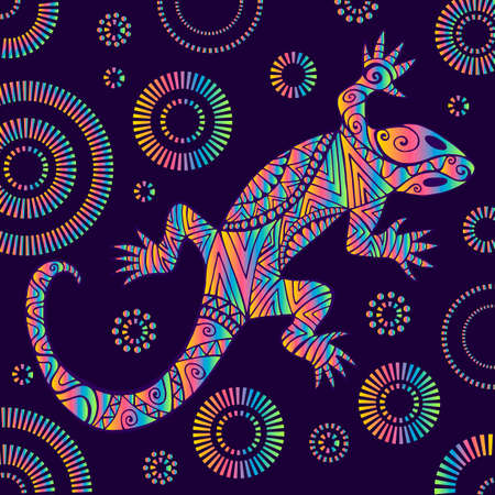 Psychedelic lizard with many ornaments, bright rainbow color gradient, isolated on dark purple background with patterns. Doodle ethnic style, tribal animal. Vector hand drawn illustration with reptile.
