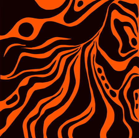 Abstract pattern, ethnic style, stylish background, black color line, isolated on orange background. Vector hand drawn illustration. Vettoriali