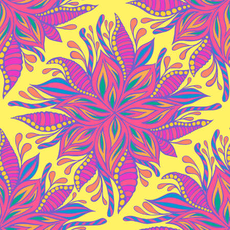 Summer vivid flowers seamless pattern, pastel neon color, isolated yellow background. Psychedelic flowers, framed by leaves and buds texture. Vector hand drawn illustration with blooming florets.