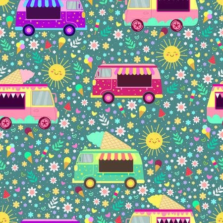 Cartoon ice cream trucks seamless pattern, with cute smiling suns, flowers, hearts and ice cream. Summer sunny flat style vector texture with ice cream cars on green background. Illustration