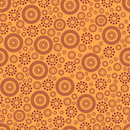 Abstract ethnic boho style ornament seamless pattern. Burgundy color patterns isolated on orange background. Vector tribal african style colorful texture. Vettoriali
