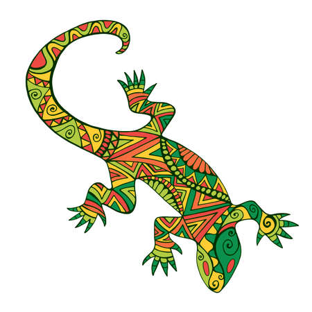 Ethnic colorful lizard with many ornaments, isolated on white background. Vector hand drawn reptile in doodle style. Artistic tribal shamanic animal pattern.