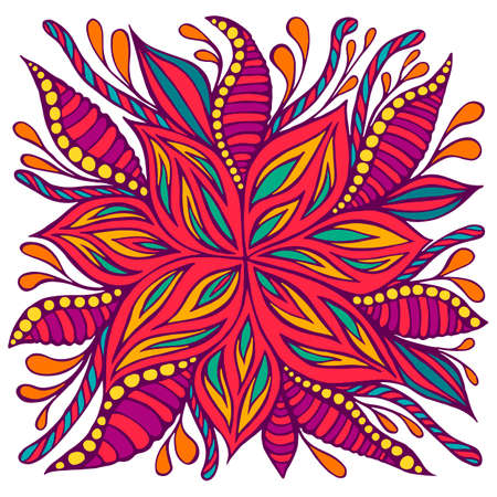 Bright colorful doodle style flower with many ornaments, isolated on white background. Decorative fantasy floret. Vector hand drawn illustration psychedelic blooming flower.