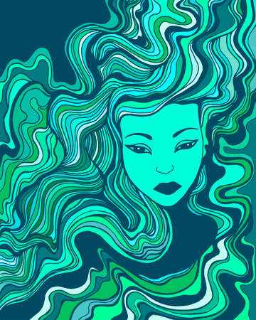 Beautiful surreal face girl with blue turquoise aqua color fluttering hair and a languid look. Vector hand drawn illustration with young woman. Fantasy portrait girl mermaid.