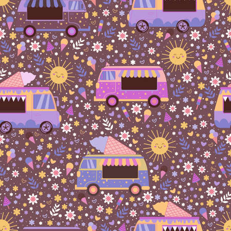 Colorful ice cream trucks seamless pattern, with cute smiling suns, flowers, hearts and ice cream. Summer sunny cartoon vector texture with toy cars and ice cream on brown background.