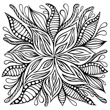 Fantasy flower doodle style coloring page. Decoration cartoon floret isolated on white background. Vector hand drawn illustration with plant and blooming fantastic flowers. Vettoriali