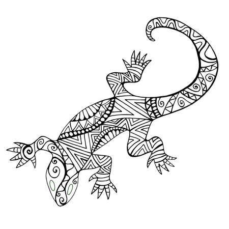Lizard with many patterns for coloring book, isolated on white background. Black and white illustration in ethno style doodle animal. Vector hand drawing reptile.