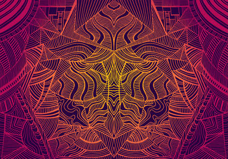 Psychedelic trippy colorful fractal mandala, gradient bright crimson, orange,yellow colors outline,on dark background.