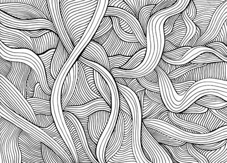 Abstract funny doodle style with many intricate waves coloring page. Illustration