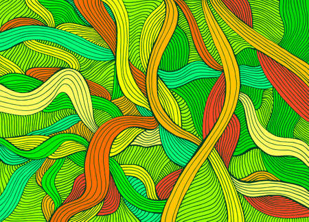 Variegated abstract lines art pattern, rainbow multicolor color. Decorative psychedelic stylish card. Vector hand drawn artistic illustration. Doodles wave background. Vettoriali