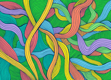 Colorful summer juic abstract lines art pattern, pastel neon color. Decorative psychedelic stylish card. Vector hand drawn artistic illustration. Doodles wave background.