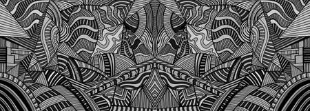 Mirror monochrome psychedelic background with many crazy geometric pattern. Abstract black and gray colors surreal texture. Vector stylish symmetrical card.