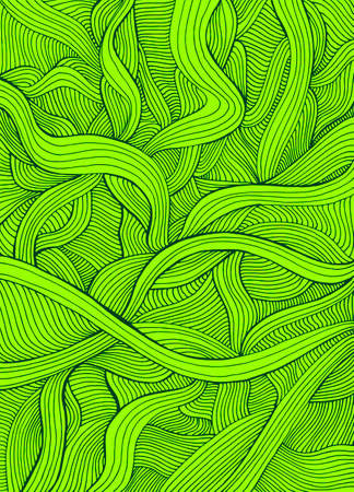 Juicy light green doodle style colorful abstract crazy waves background. Vector hand drawn illustration. Decorative green lines texture.