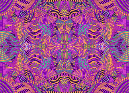 Psychedelic kaleidoscope colorful background with many crazy geometric pattern. Decorative surreal fractal abstract texture. Vector shamanic vivid symmetrical trance card.