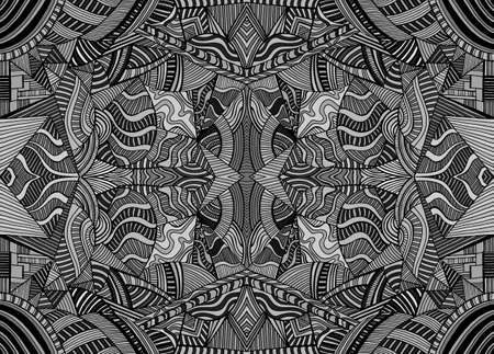 Monochrome psychedelic kaleidoscope background with many crazy geometric pattern. Decorative black and gray colors surreal fractal abstract texture. Vector stylish symmetrical card.