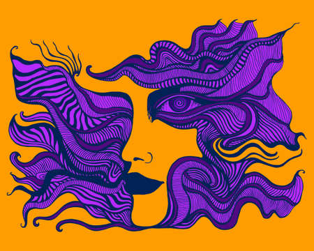 Surreal psychedelic colorful anthropomorphic face with spiral eye, of crazy patterns in purple, dark violet color, isolated on orange background. Fantastic art with ornamental person. Trippy cartoon maze ornament background. Vector hand drawn illustration.