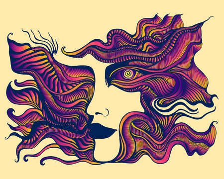 Mystical surreal psychedelic stylized anthropomorphic face with spiral eye and many patterns, orange pink purple gradient color, isolated on soft beige background. Stylish card with an extraordinary colorful person. Vector hand drawn illustration.