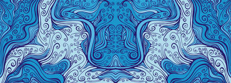 Mirror doodle fantasy wavy frame, colorful blue shades. Vettoriali