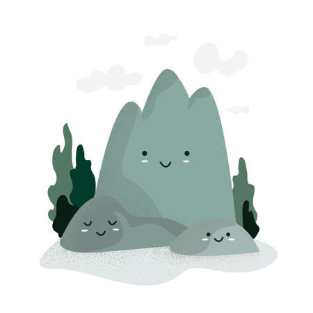 Happy Mountains day. Cute funny cartoon mountains with sweet kawaii faces, clouds and trees, isolated on white background. Illustration