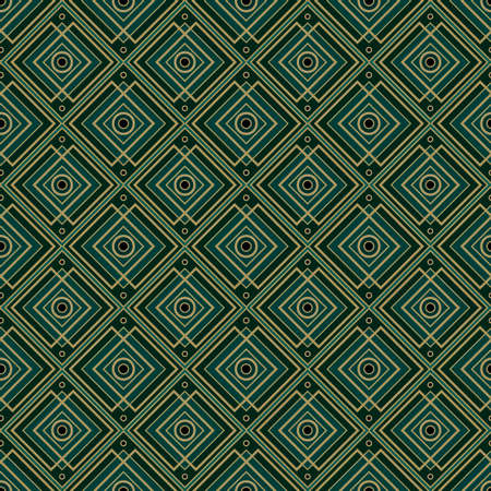 Vintage style art deco geometric seamless pattern. Bohemian elegant texture in dark aquamarine and gold color. Vector abstract background.