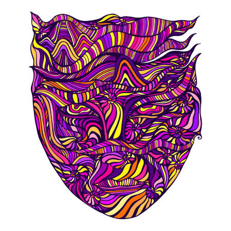 Multicolor bizarre surreal psychedelic anthropomorphic face with many patterns, isolated on white background. Stylish card with an extraordinary colorful person. Vector hand drawn illustration. Vettoriali