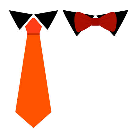 Tie classic and Bow Tie, colorful carrot color tie and burgundy bow tie on black shirt collar accessories flat simple style, isolated on white. Vettoriali