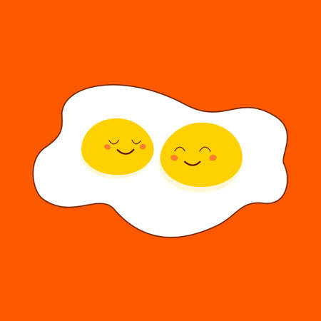 Omelette Two Yolk with Cute Smiling Happy Cartoon Faces, flat style, isolated on orange. Vettoriali