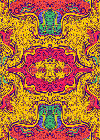 Juicy Psychedelic colorful mandala flower with curly elegance lines pattern. 向量圖像