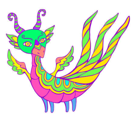 Bright Dragon fantasy cartoon with wings, horns and three tails, isolated in white. Bizarre doodle style character Little dragon, fantastic animal. Vector hand drawn illustration with magical dragon.