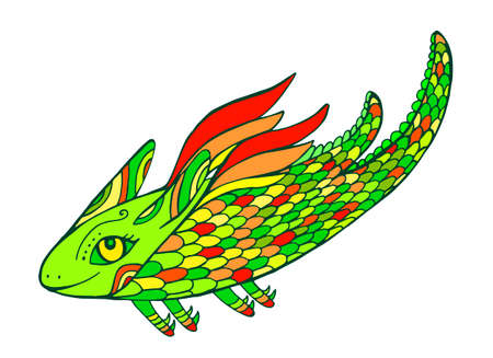 Funny fantasy colorful cute tribal flying Dragon in green yellow red color, isolated on white. Creative doodle style decorative card withfairy tale animal. Vector hand drawn cartoon illustration.