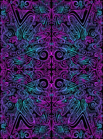 Vintage psychedelic tryppi colorful fractal pattern. Gradient neon violet blue outline, black color background. 向量圖像