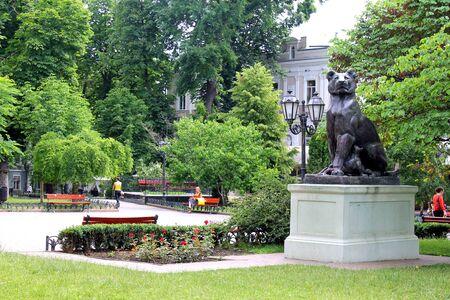 Statue Lioness with offsprings in Odessa, Ukraine