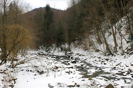 carpathian: Winter river in Carpathian mountains Stock Photo