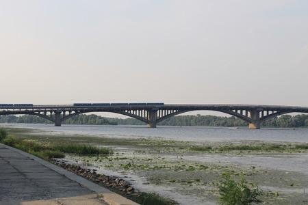 the dnieper: Bridge across river Dnieper in Kiev