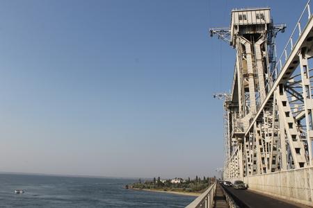 estuary: Drawbridge across Dniester estuary