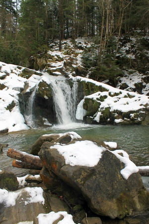 carpathian: Carpathian winter waterfall