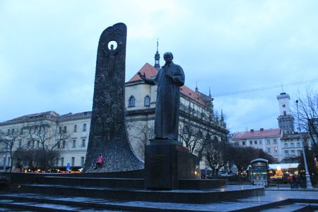 lviv: Monument to poet Taras Shevchenko in Lviv Stock Photo